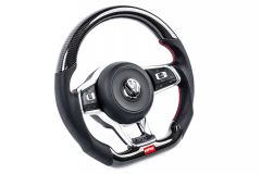 APR STEERING WHEEL - CARBON FIBER & PERFORATED LEATHER - MK7 GTI/GLI RED (FOR USE WITHOUT DSG PADDLES)